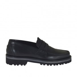 Men's mocassin in black leather - Available sizes:  36, 38, 46, 47, 48, 49