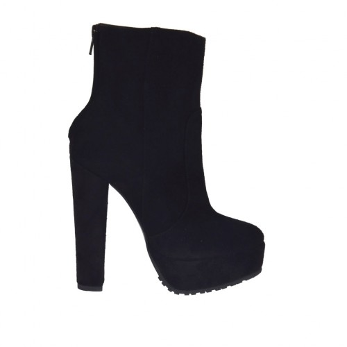 Woman's ankle boot with zipper and platform in black suede with heel 13 - Available sizes:  42