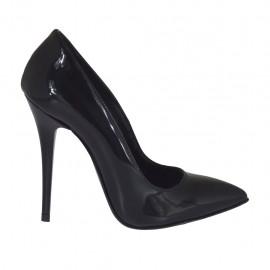 Escarpin pour femmes à bout pointu en cuir verni noir avec talon 10 - Pointures disponibles:  31, 32, 34, 42, 43, 44, 45, 46