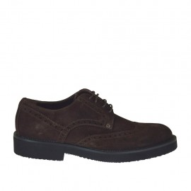 Men's laced derby shoe in dark brown suede  - Available sizes:  36, 37, 38, 46, 47, 48, 49