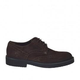Zapato derby con cordones para hombre en gamuza marron oscura - Tallas disponibles:  36, 37, 38, 46, 49