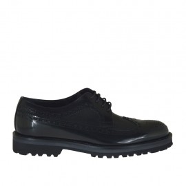 Men's laced derby shoe with Brogue decorations in black leather and brush-off leather - Available sizes:  36, 48, 50