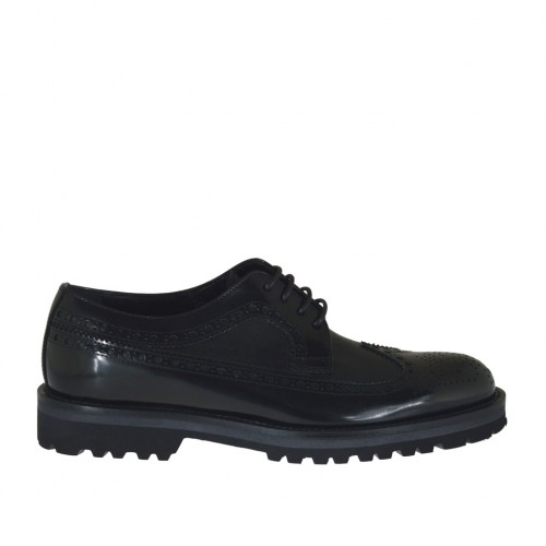 Men's laced derby shoe with Brogue decorations in black leather and brush-off leather - Available sizes:  36, 47, 48, 50