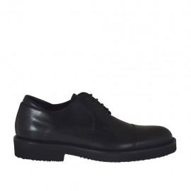 Chaussure derby à lacets et bout droit pour hommes en cuir noir - Pointures disponibles:  50