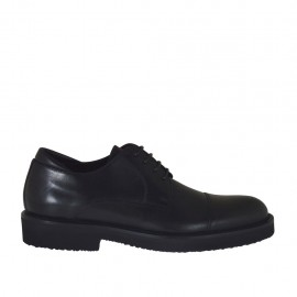 Men's laced derby shoe in black leather - Available sizes:  36, 37, 38, 46, 47, 48, 49, 50