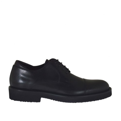 Men's laced derby shoe with laces in black leather - Available sizes:  47, 50
