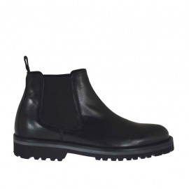 Men's ankle-boot in black leather with elastic bands - Available sizes:  36, 37, 38, 46, 47, 48, 49, 50