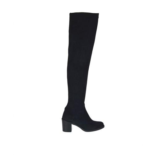 Stivale sopra al ginocchio da donna in camoscio ed elasticizzato nero tacco 6 - Misure disponibili: 34