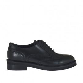 Scarpa stringata da donna Oxford in pelle nera tacco 3 - Misure disponibili: 44