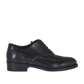 Woman's laced Oxford shoe with studs in black leather heel 3 - Available sizes:  33, 34, 42, 43, 44, 45