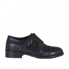Scarpa da donna con fibbie e borchie in pelle nera tacco 3 - Misure disponibili: 34, 43, 44, 45