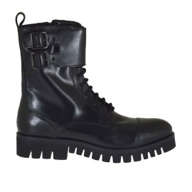 Woman's laced combat style ankle boot with zipper and buckles in black leather heel 3 - Available sizes:  33, 43, 44, 45, 46