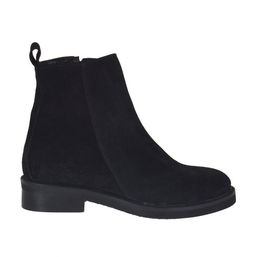 Woman's ankle boot with inner zipper in black suede heel 3 - Available sizes:  33