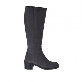 Woman's boot with zipper in grey suede with heel 5 - Available sizes:  32, 33, 34, 42, 43, 44, 45, 46