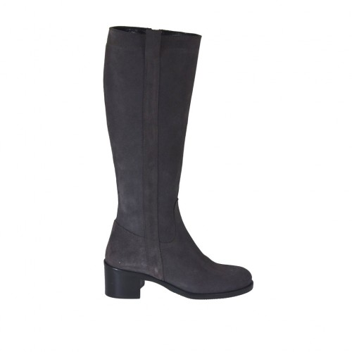 Woman's boot with zipper in grey suede with heel 5 - Available sizes:  42, 43