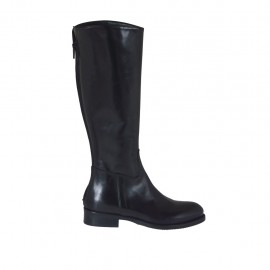 Woman's boot with backside zipper in black leather heel 3 - Available sizes:  33, 34, 42, 43, 44, 45, 46