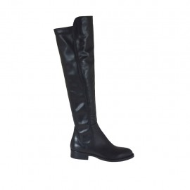 Woman's kneehigh boot in black elastic leather heel 3 - Available sizes:  33, 34, 42, 43, 44, 45, 46, 47