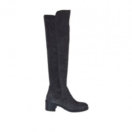 Woman's knee-high boot in grey suede and elastic material heel 5 - Available sizes:  33, 34, 42, 43, 44, 45