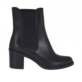 Bottines pour femmes avec elastiques en cuir de couleur noir talon 5 - Pointures disponibles:  32, 33, 34, 43, 44, 45