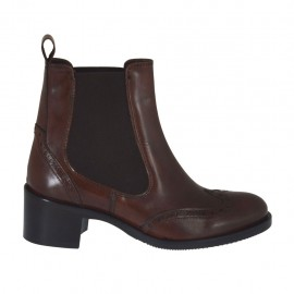Woman's ankle boot with elastic bands and decorations in brown leather heel 4 - Available sizes:  32, 33, 46