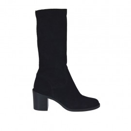 Woman's boot in black elastic suede heel 6 - Available sizes:  32, 33, 34, 42, 43, 44, 45, 46