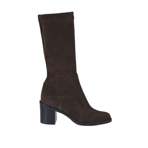 Woman's boot in brown suede and elastic material heel 6 - Available sizes:  42