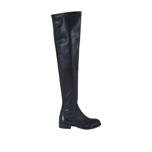 Woman's over-the-knee boot in black leather and elastic material heel 3 - Available sizes:  33