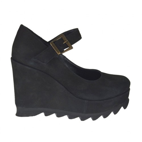 Woman's strap pump with wedge and platform in black nubuck leather wegde heel 9  - Available sizes:  34, 42, 43, 44, 45