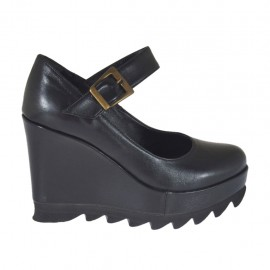 Zapato de salon para mujeres con correa, cuña y plataforma en piel negra cuña 9 - Tallas disponibles:  31, 32, 33, 34, 42, 43, 44, 45