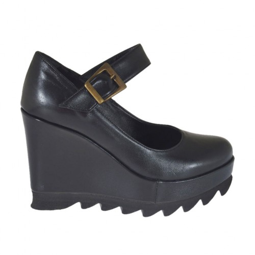 Woman's strap pump with wedge and platform in black leather wegde heel 9  - Available sizes:  42, 43
