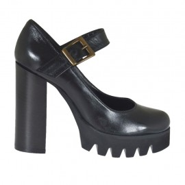 Woman's Mary Jane pump in black leather heel 10 - Available sizes:  31, 32, 33, 42, 44, 45