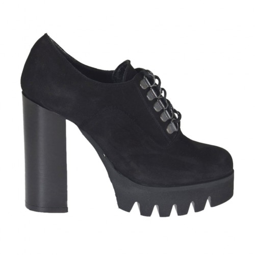 Woman's laced shoe in black nubuck leather heel 10 - Available sizes:  32, 34, 43