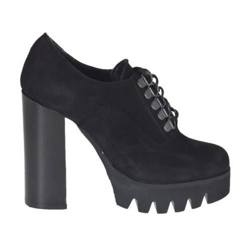 En Zapato Tacon 10 Mujer Color Con De Nubuk Cordones Para Negro k8Pn0OwX