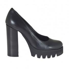 Zapato de salon para mujeres en piel de color negro tacon 10 - Tallas disponibles:  31, 32, 33, 34, 42, 43, 44, 45, 46, 47