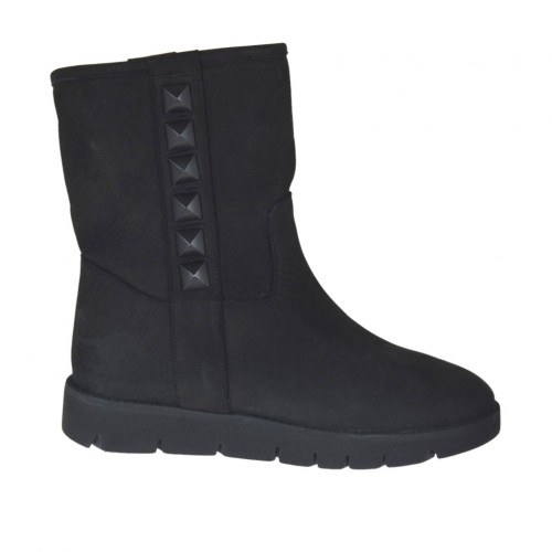 Woman's ankle boot with studs in black nubuck leather wedge heel 3 - Available sizes:  33