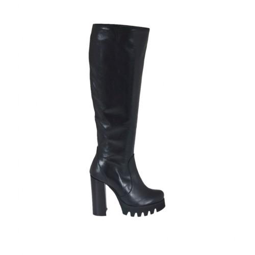 Bota para mujer con cremallera en piel de color negro tacon 10 - Tallas disponibles:  31, 42, 43