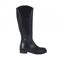 Woman's smooth boot with inner zipper in black-colored leather heel 3 - Available sizes:  33