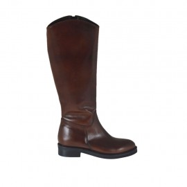 Woman's smooth boot with inner zipper in brown leather heel 3 - Available sizes:  33, 46