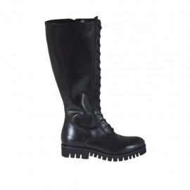 Botas para mujer con cremallera y cordones decorativos en piel negra tacon 3 - Tallas disponibles:  34, 43, 46