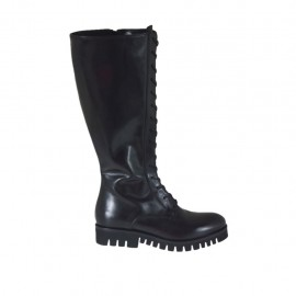 Woman's boot with zipper and decorative laces in black leather heel 3 - Available sizes:  34, 43, 46