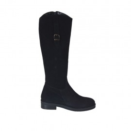 Woman's boot with zipper and buckle in black suede heel 3 - Available sizes:  33