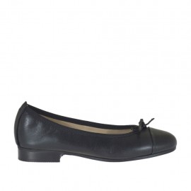 Woman's ballerina shoe with bow in black leather heel 2 - Available sizes:  33, 34, 42, 43, 44, 45