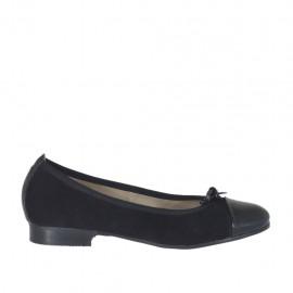 Zapato bailarina para mujer con moño en gamuza y charol negra tacon 2 - Tallas disponibles:  33, 43, 44, 45