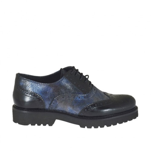 Woman's laced Oxford shoe in black and blue printed marbled leather with heel 3 - Available sizes:  44