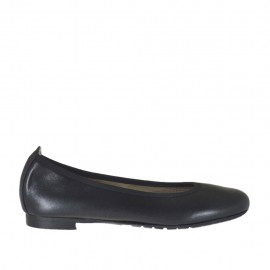 Woman's ballerina shoe in black leather with heel 1 - Available sizes:  33, 34, 42, 43, 44