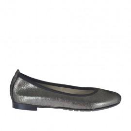 Ballerina da donna con punta tonda in pelle stampata glitterata grigio acciaio tacco 1 - Misure disponibili: 33, 34, 44, 45