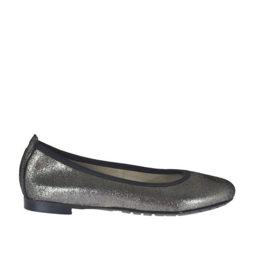Woman's rounded ballerina shoe in steel grey glittery printed leather heel 1 - Available sizes:  33, 34