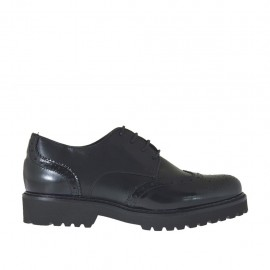 Zapato con cordones estile derby para mujeres en piel y piel cepillada color negro con tacon 3 - Tallas disponibles:  33, 42, 43, 44, 45