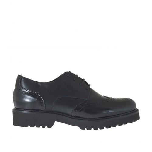 Scarpa stringata da donna modello derby in pelle e pelle abrasivata nera con tacco 3 - Misure disponibili: 33, 34, 42, 43, 44, 45