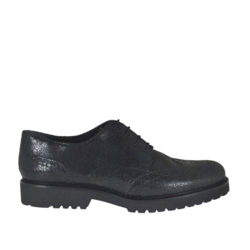 Zapato derby para mujer con cordones en piel imprimida a mosaico negra tacon 3 - Tallas disponibles:  42, 43, 44, 45